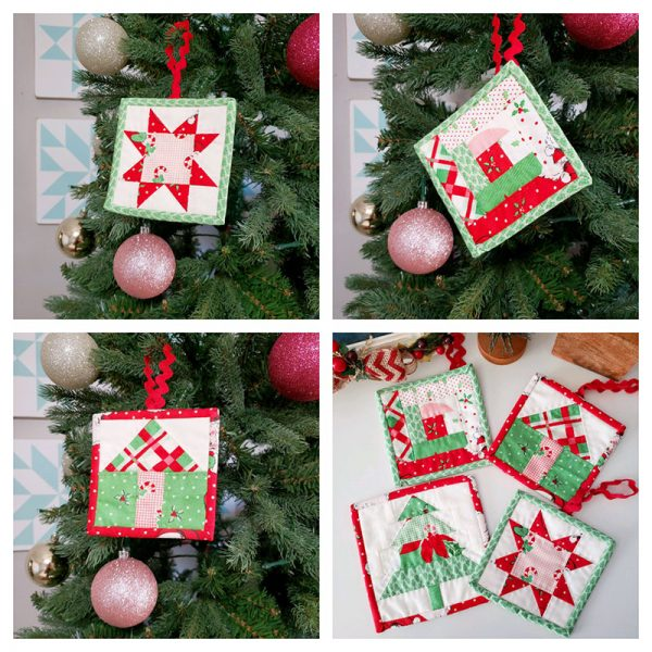 Quick Patchwork Christmas Ornaments
