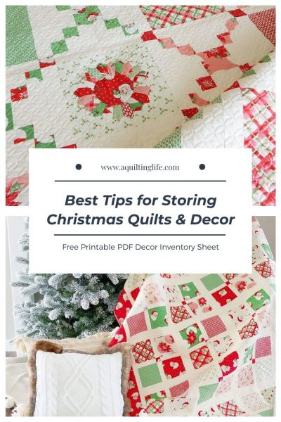 Best Tips for Storing Christmas Quilts and Decor featured by Top US Quilting Blog, A Quilting Life: image of Christmas quilts