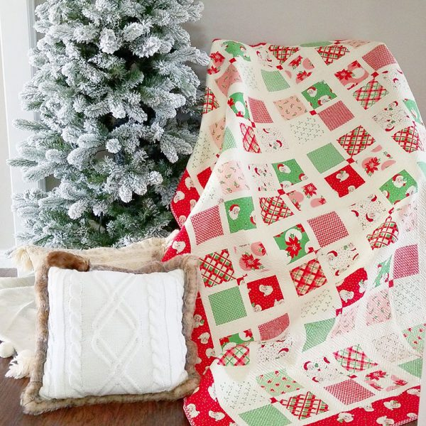 Merry Christmas featured by Top Us Quilting Blog, A Quilting Life: image of Four Square Christmas Quilt