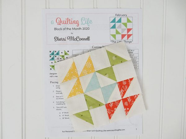 Quilting Life Block of the Month 2020 | February featured by Top US Quilting Blog, A Quilting Life: image of February block