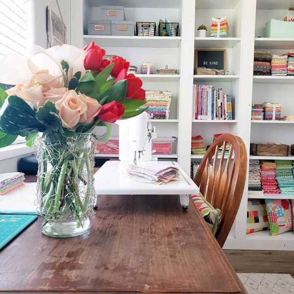 Tips for Small Sewing Spaces featured by Top US Quilting Blog, A Quilting Life: image of sewing room