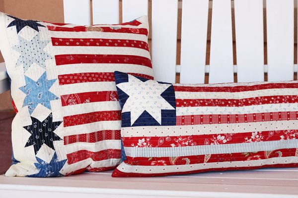 How to Make an Envelope Pillow Back featured by Top US Quilt Blog, A Quilting Life: image of patriotic pillows