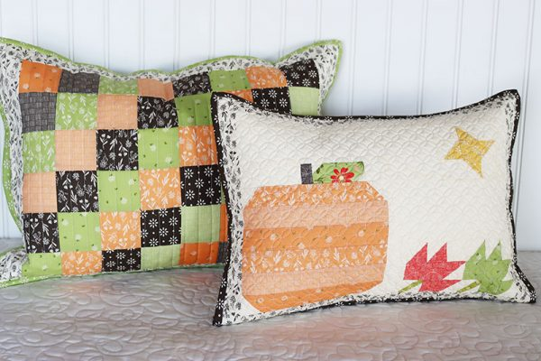 Fall Pillow Pattern with Pumpkin, Leaves, & Star featured by Top US Quilting Blog, A Quilting Life