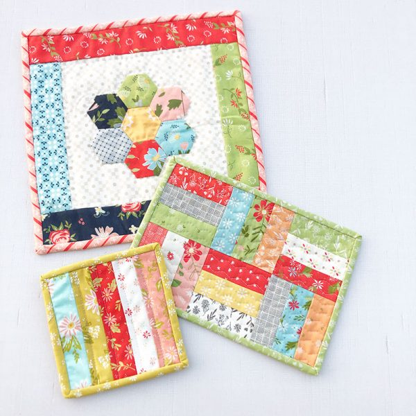 Quilted Mug Rug Tutorial featured by Top US Quilting Blog, A Quilting Life: image of Candle Mat, Mug Rug, and Coaster
